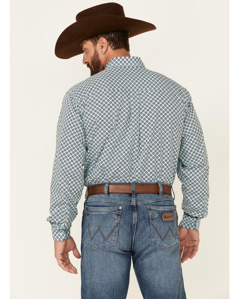 Cinch Men's Light Blue Geo Print Long Sleeve Button-Down Western Shirt , Light Blue, hi-res