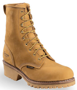 "Chippewa 8"" Lace-Up Nubuc Insulated Logger Boots - Steel Toe, Golden Tan, hi-res"