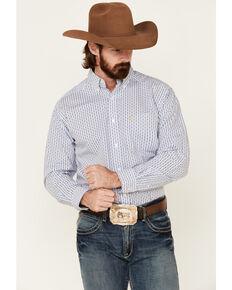 Ariat Men's Bane Geo Print Long Sleeve Western Shirt - Tall , White, hi-res