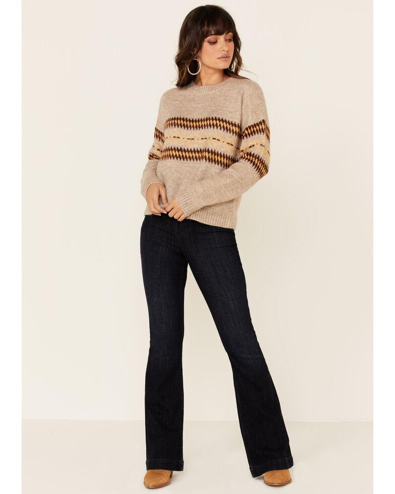 Hem & Thread Women's Taupe Aztec Print Pullover Sweater , Tan, hi-res