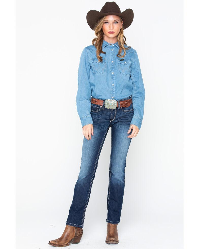 Wrangler Women's Modern Born Ready Oversized Western Denim Shirt, Light Blue, hi-res