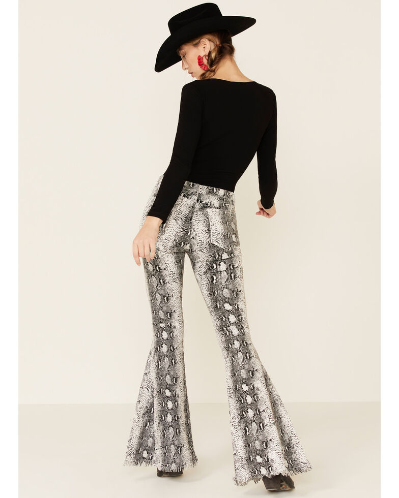 Saints & Hearts Women's Snake Print Flare Jeans, Black, hi-res