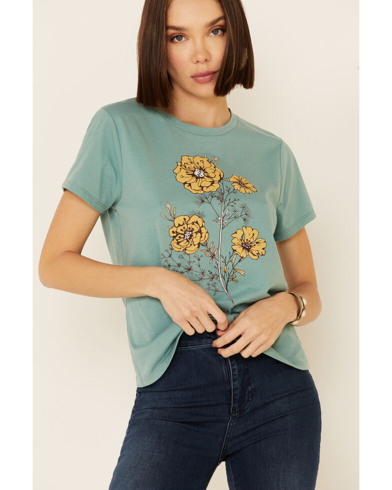 Cut & Paste Women's Every Flower Grows Floral Graphic Short Sleeve Tee , Teal, hi-res