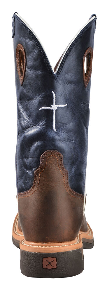 Twisted X Lite Men's Texas Flag Pull-On Work Boots - Square Toe, Brown, hi-res