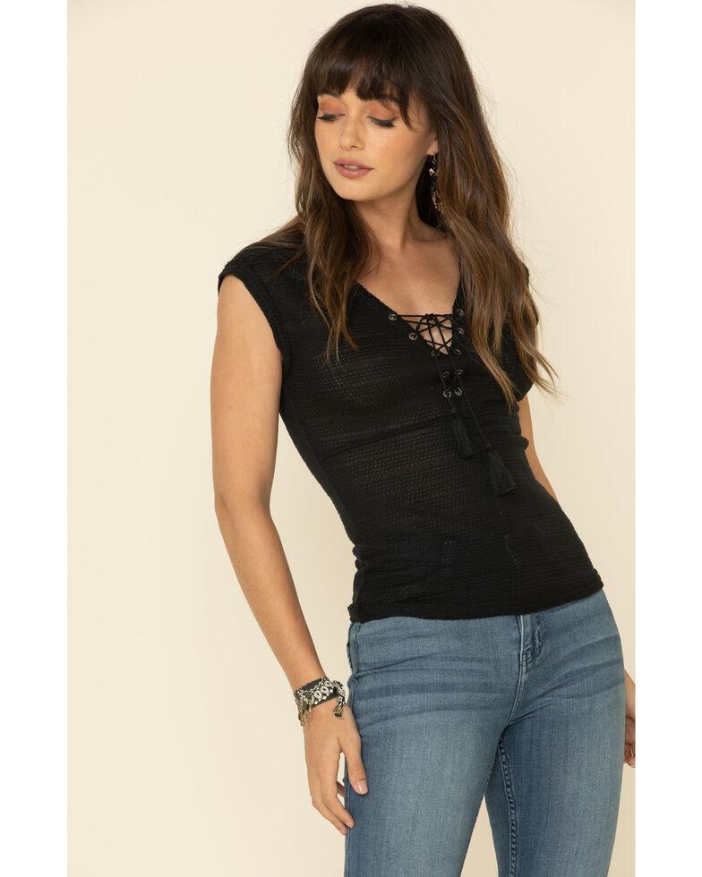 Idyllwind Women's Moonlit Lace-Up Top , Black, hi-res