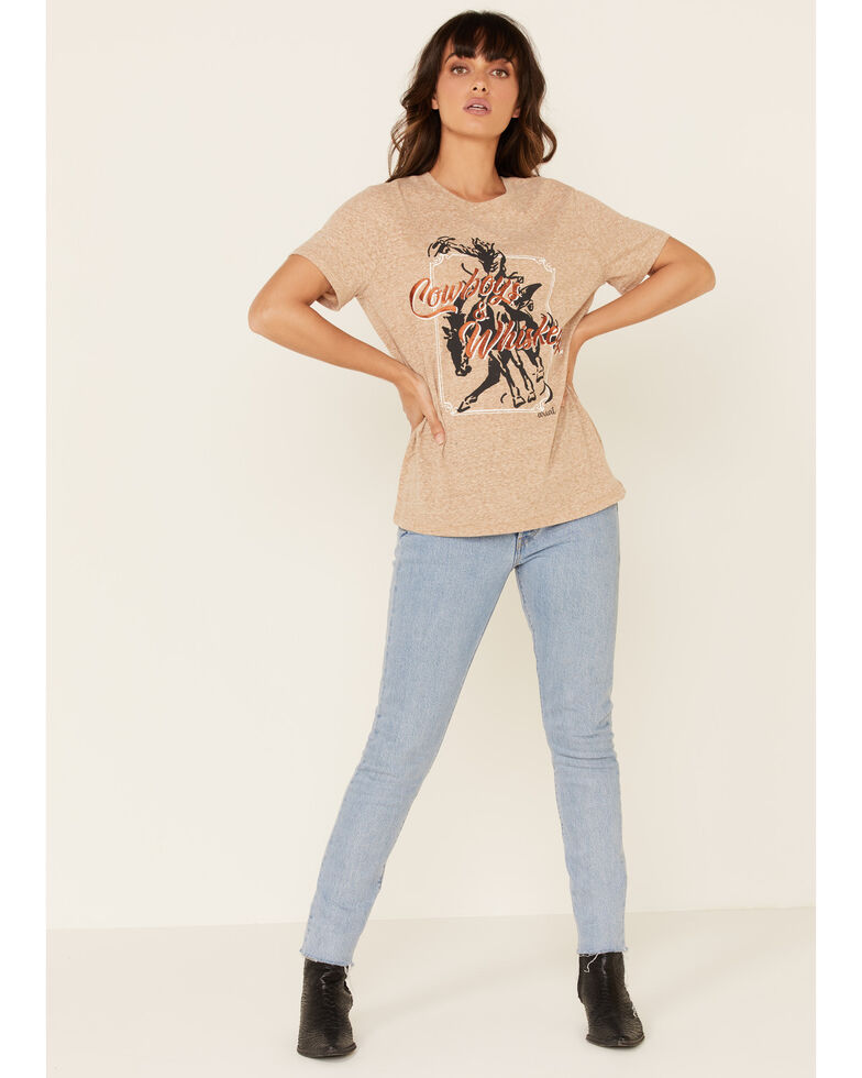 Ariat Women's Gold Cowboys & Whiskey Graphic Tee , Gold, hi-res