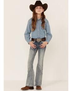 Grace In LA Girls' (7-16) Medium Wash Pink Border Pocket Bootcut Jeans , Blue, hi-res