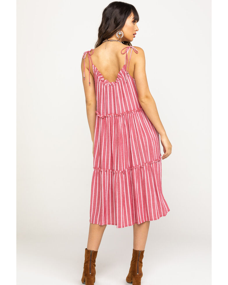 Angie Women's Red Stripe Tiered Midi Dress, Red, hi-res