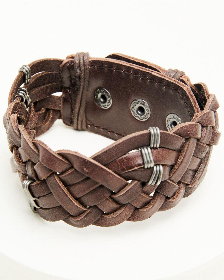 Moonshine Spirit Men's Braided Leather Cuff, Brown, hi-res