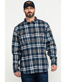 Hawx® Men's Blue FR Plaid Long Sleeve Woven Work Shirt - Tall , Blue, hi-res