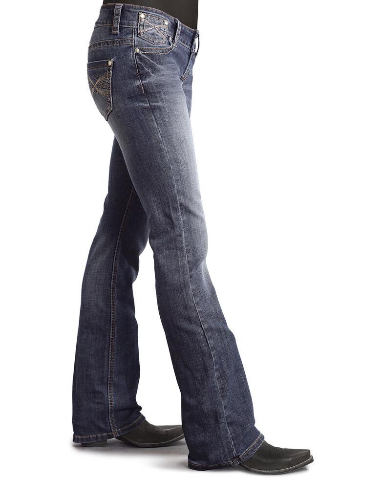 Stetson Women's 818 Contemporary X-Stitch Bootcut Jeans, Denim, hi-res