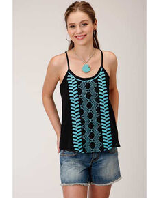 Five Star Women's Black Embroidered Camisole Top, Black, hi-res
