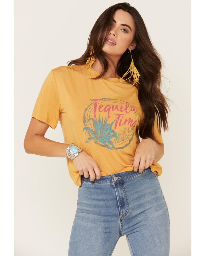 Rock & Roll Denim Women's Mustard Tequila Time Graphic Tee , Dark Yellow, hi-res
