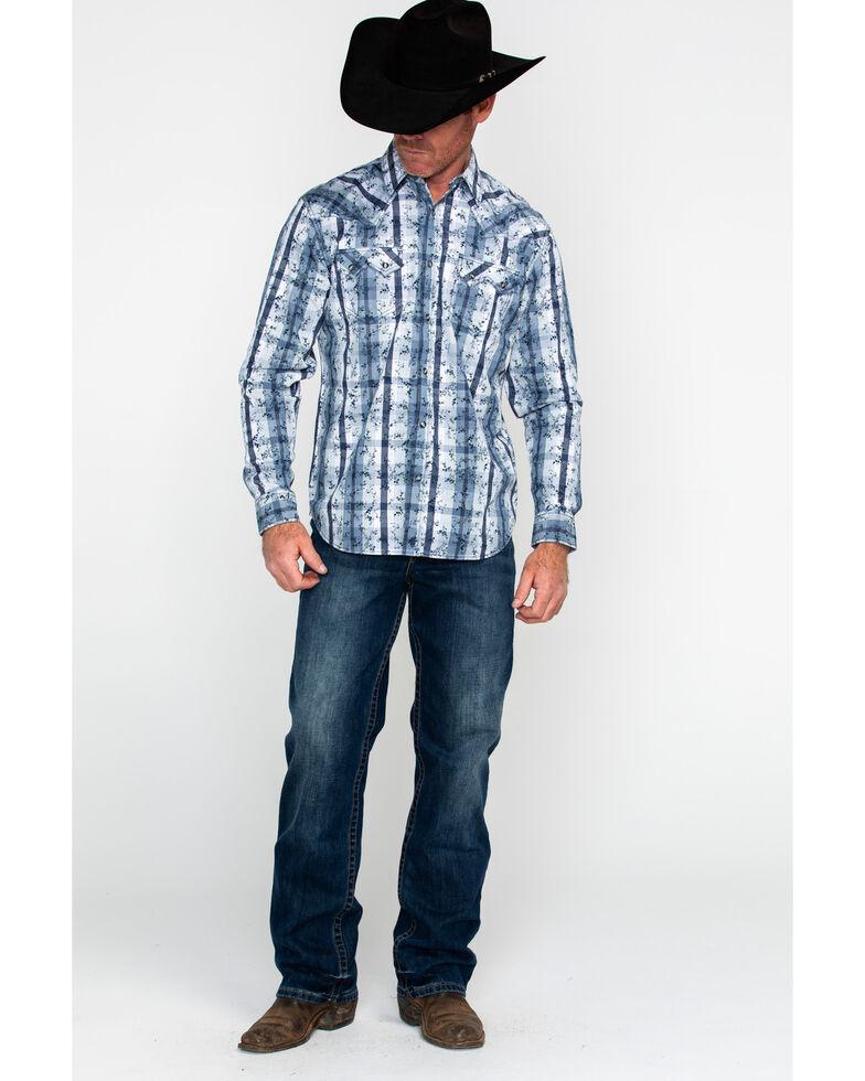 Moonshine Spirit Men's Meadowlark Plaid Long Sleeve Western Shirt , Blue, hi-res