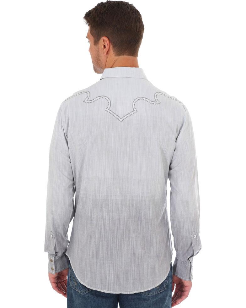 Rock 47 By Wrangler Men's Grey Ombre Print Long Sleeve Western Shirt, Grey, hi-res
