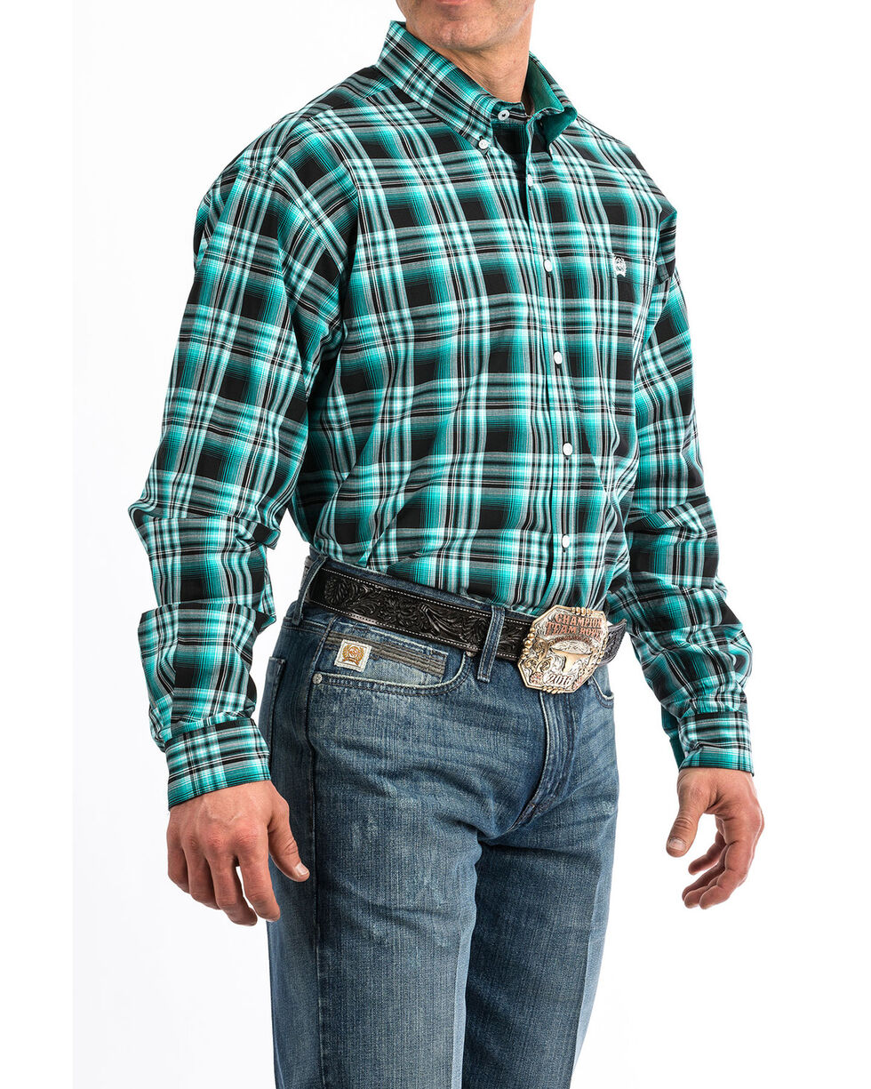 Cinch Men's Black Plaid Long Sleeve Western Shirt - Big , Black, hi-res