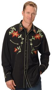 Scully Floral Embroidered Shirt, Black, hi-res