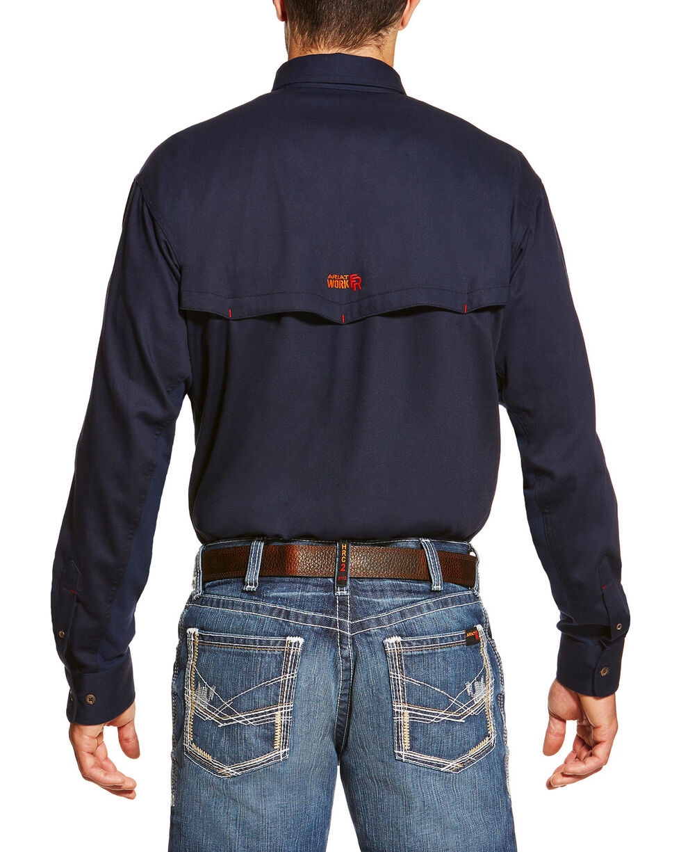 Ariat Men's Navy FR Solid Vent Shirt , Navy, hi-res
