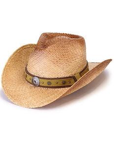 Henschel Men's Natural Medallion Austrailan Burnished Straw Western Hat , Natural, hi-res