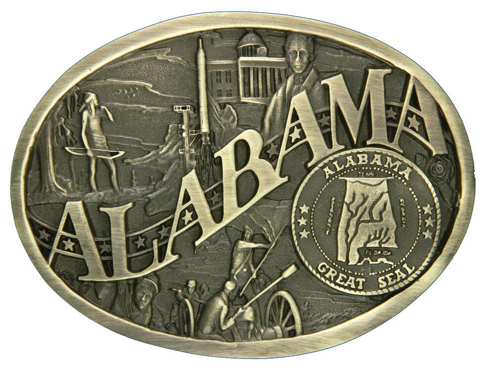 Montana Silversmiths Alabama State Heritage Attitude Belt Buckle, Gold, hi-res