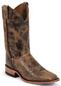 Justin Bent Rail Cowboy Boots - Wide Square Toe, Tan, hi-res
