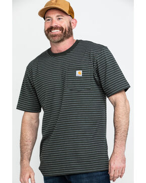 Carhartt Men's Peat Stripe Workwear Pocket Short-Sleeve Work T-Shirt - Tall, Dark Grey, hi-res