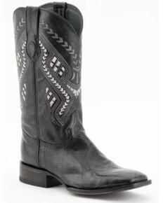 Ferrini Men's Jeese Alligator Print Western Boots - Wide Square Toe, Black, hi-res