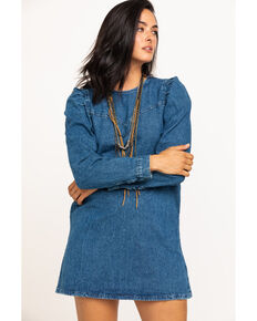 Free People Women's Denim Self Control Mini Dress, Blue, hi-res