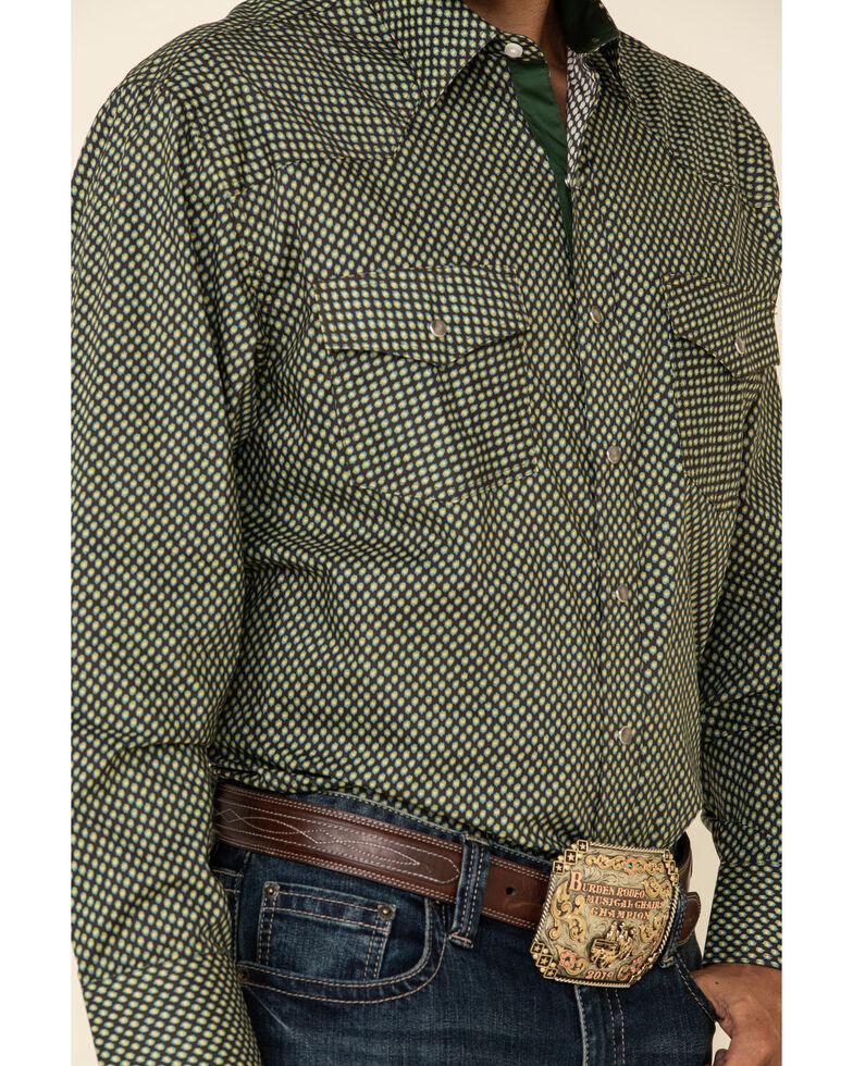 Resistol Men's Green Casper Geo Print Long Sleeve Western Shirt , Green, hi-res