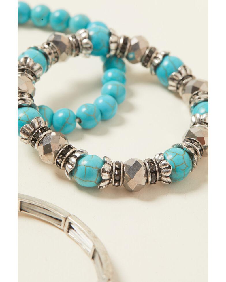 Shyanne Women's Turquoise Cross Stretch Beaded Bracelet Set, Silver, hi-res