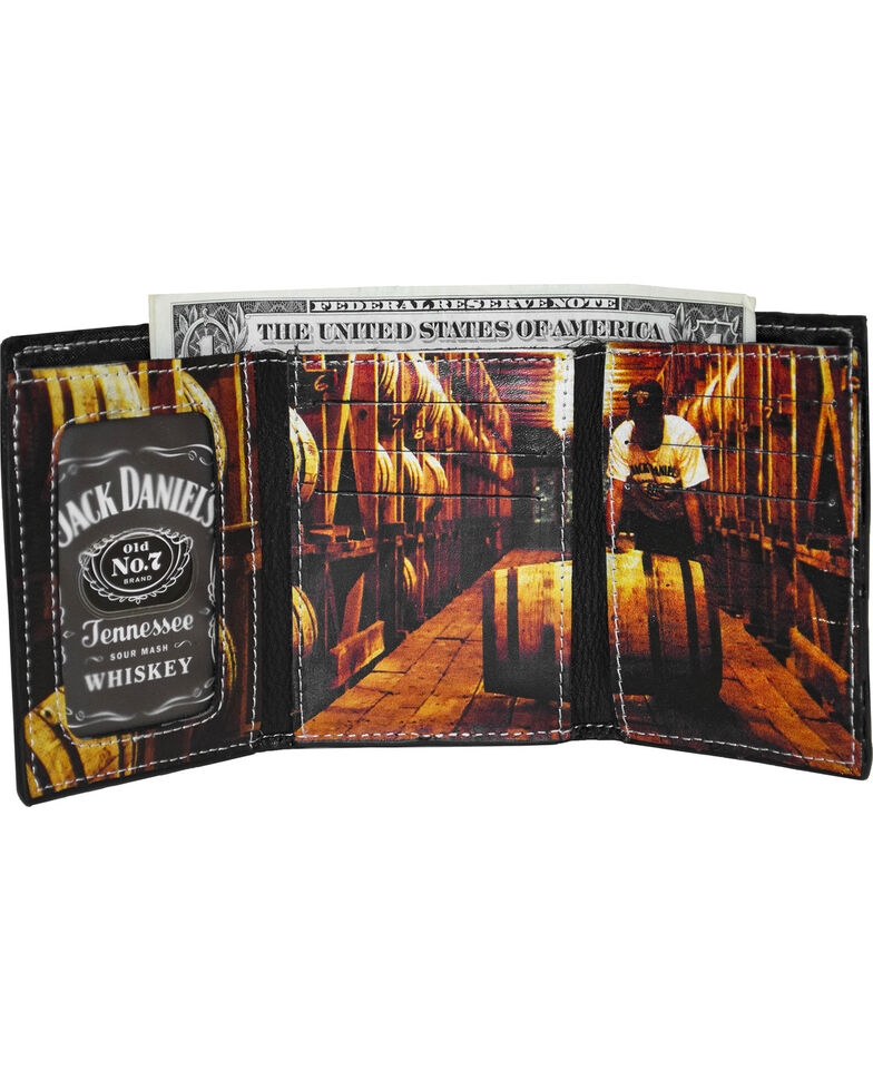 Jack Daniel's Men's Black Trifold Leather Wallet , Black, hi-res