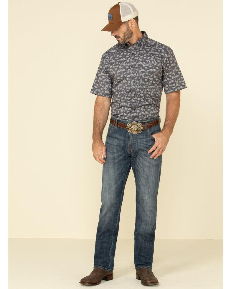 Ariat Men's Grendon Hawaiian Print Short Sleeve Western Shirt , Blue, hi-res