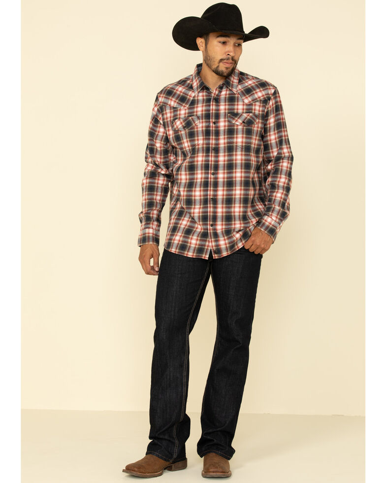 Cody James Men's Spruce Plaid Long Sleeve Western Flannel Shirt - Tall , Black/red, hi-res
