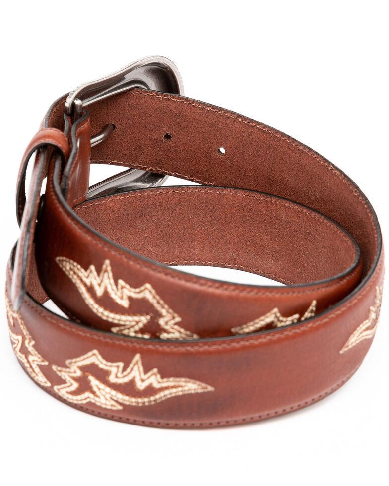 Moonshine Spirit Men's Burnish Stitched Western Belt , Brown, hi-res