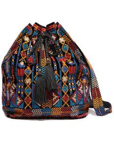 Johnny Was Women's Cleo Velvet Drawstring Backpack, Black, hi-res
