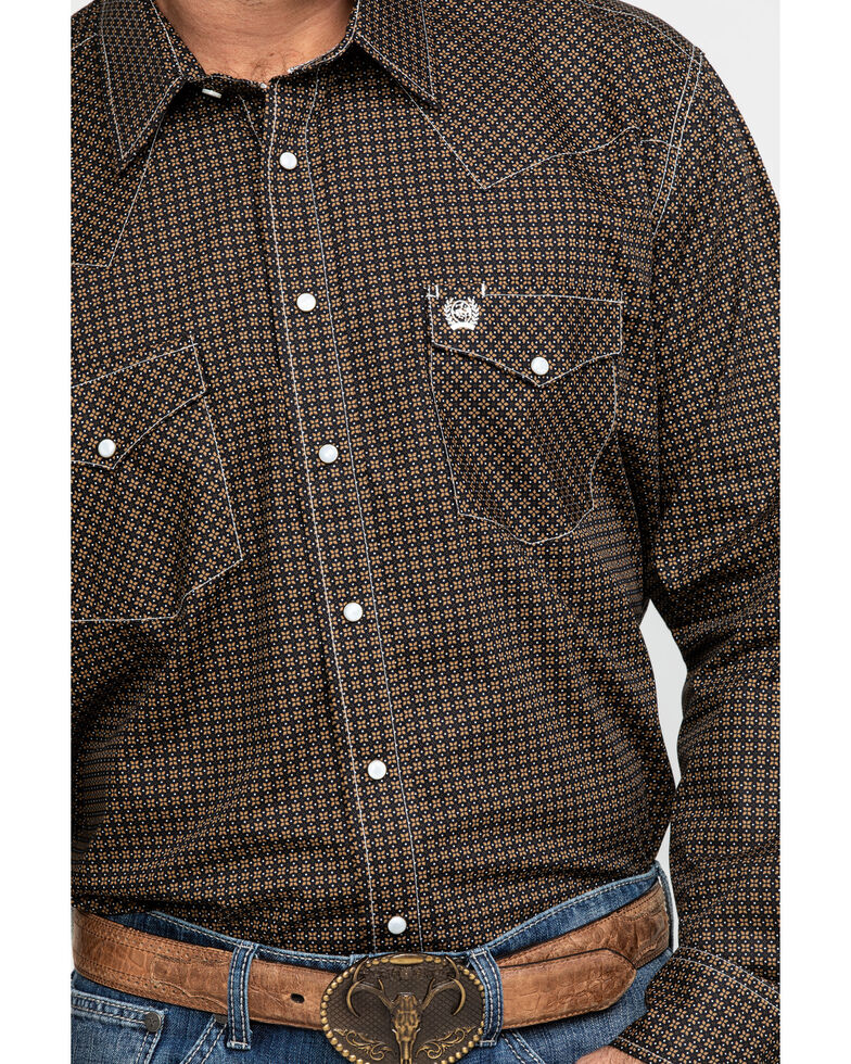 Cinch Men's Khaki Geo Print Snap Long Sleeve Western Shirt , Beige/khaki, hi-res