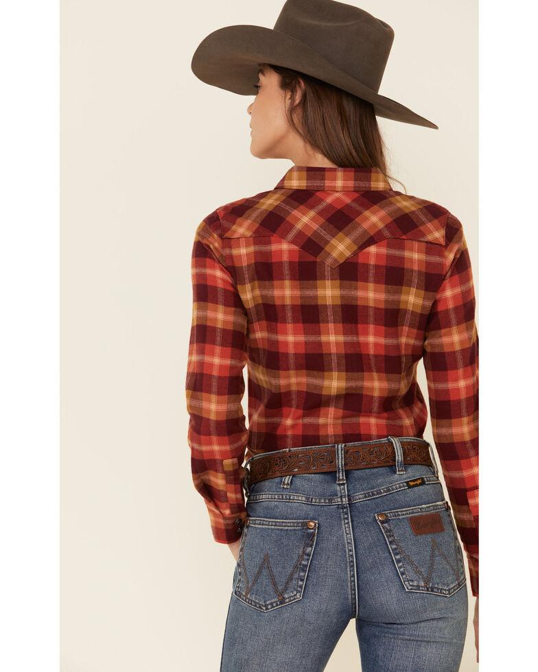 Shyanne Life Women's Rust Plaid Long Sleeve Western Flannel Shirt , Rust Copper, hi-res