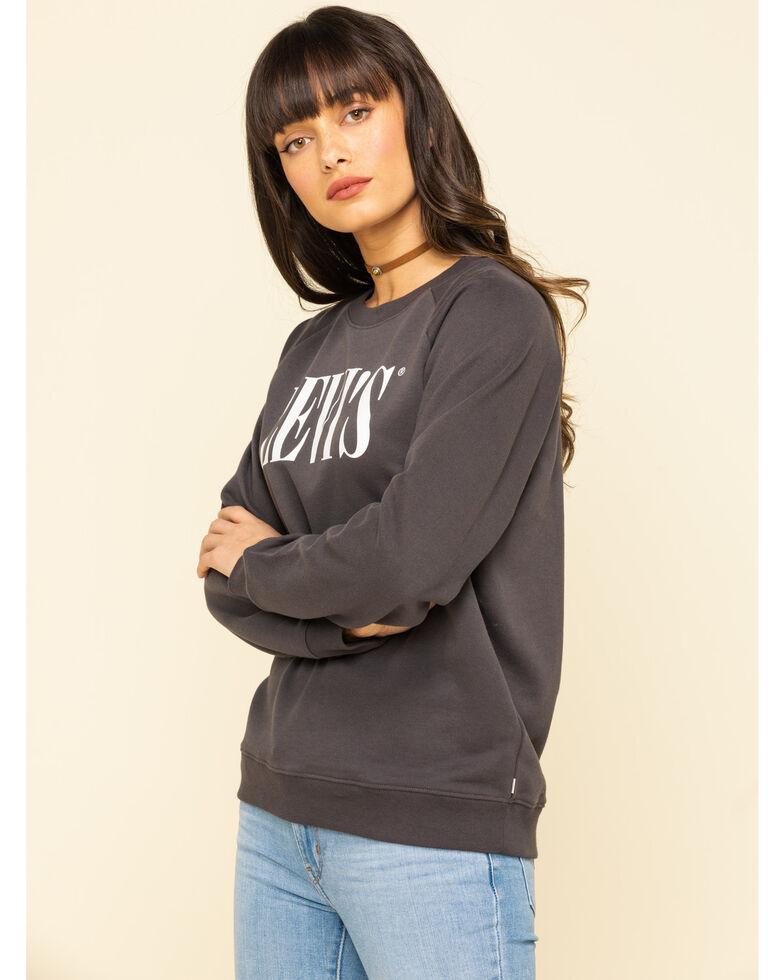 Levi's Women's Logo Relaxed Crewneck Sweatshirt, Dark Grey, hi-res