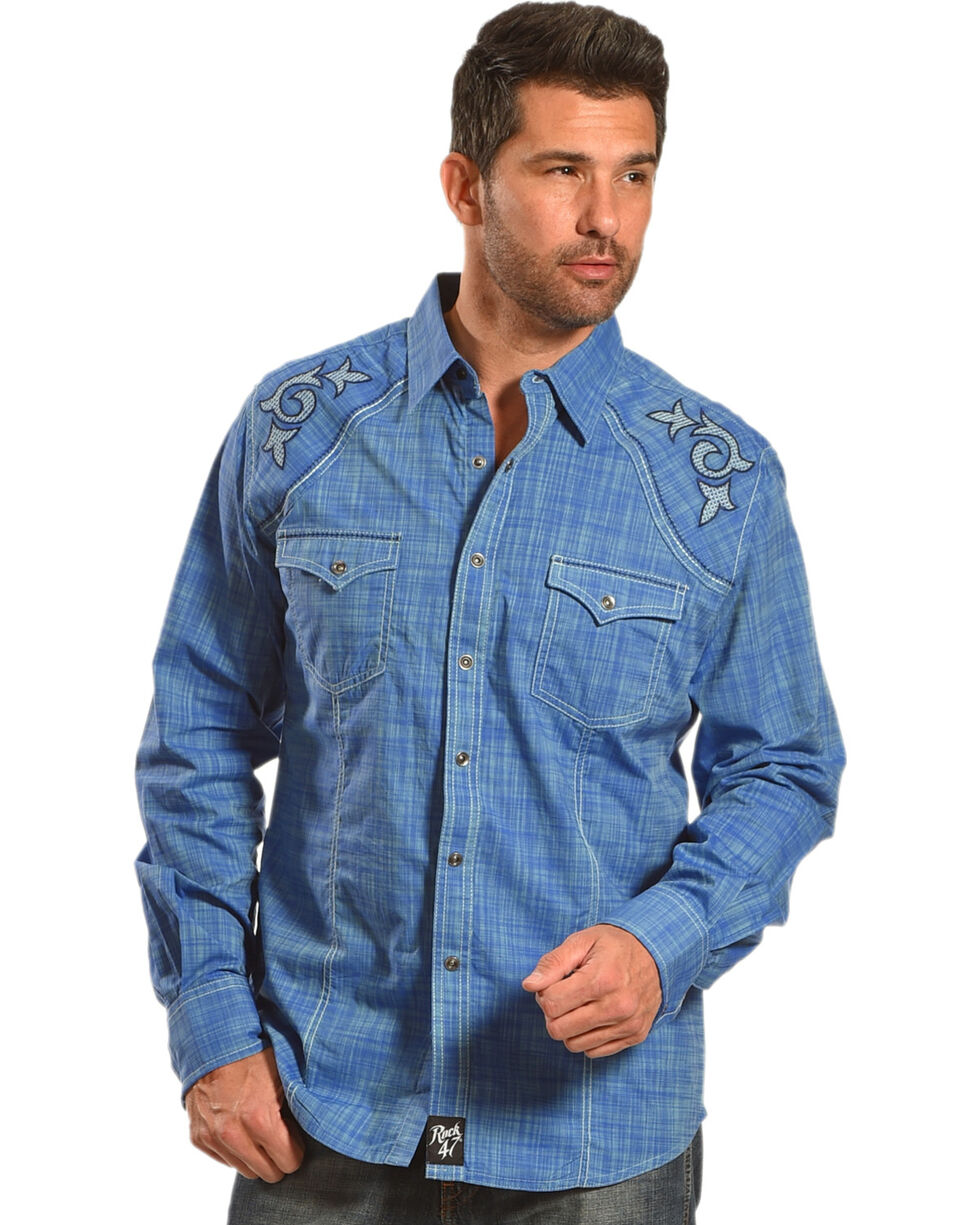 Wrangler Rock 47 Men's Blue Rancher Long Sleeve Western Snap Shirt, Blue, hi-res