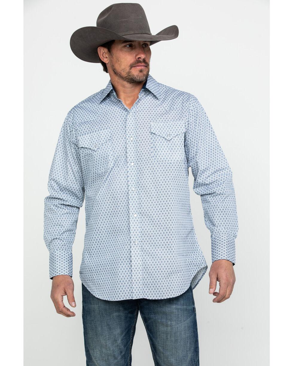 Ely Cattleman Men's Blue Print Long Sleeve Western Shirt , Blue, hi-res