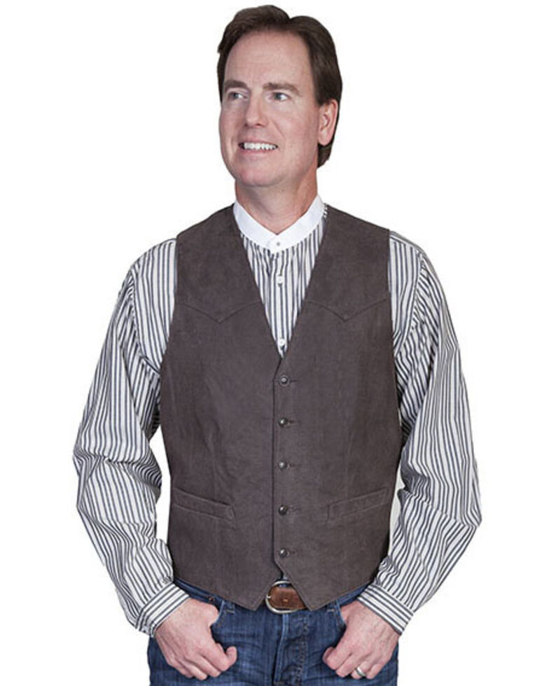 Scully Lambskin Leather Western Vest - Big & Tall, Brown, hi-res