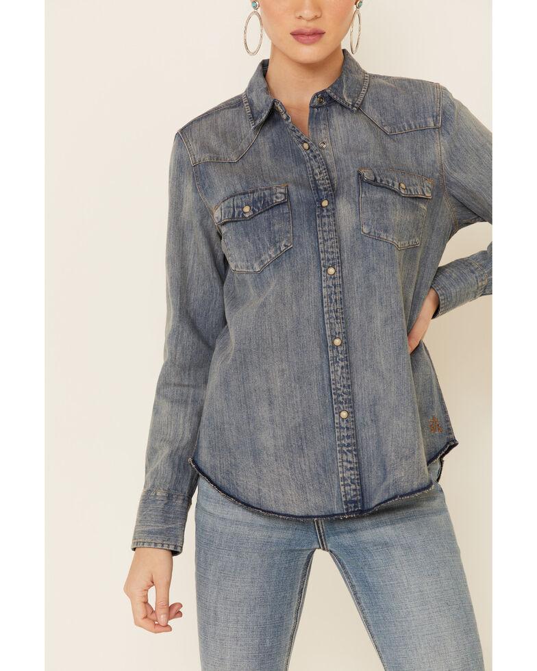 STS Ranchwear Women's Claira Denim Long Sleeve Western Shirt  , Blue, hi-res