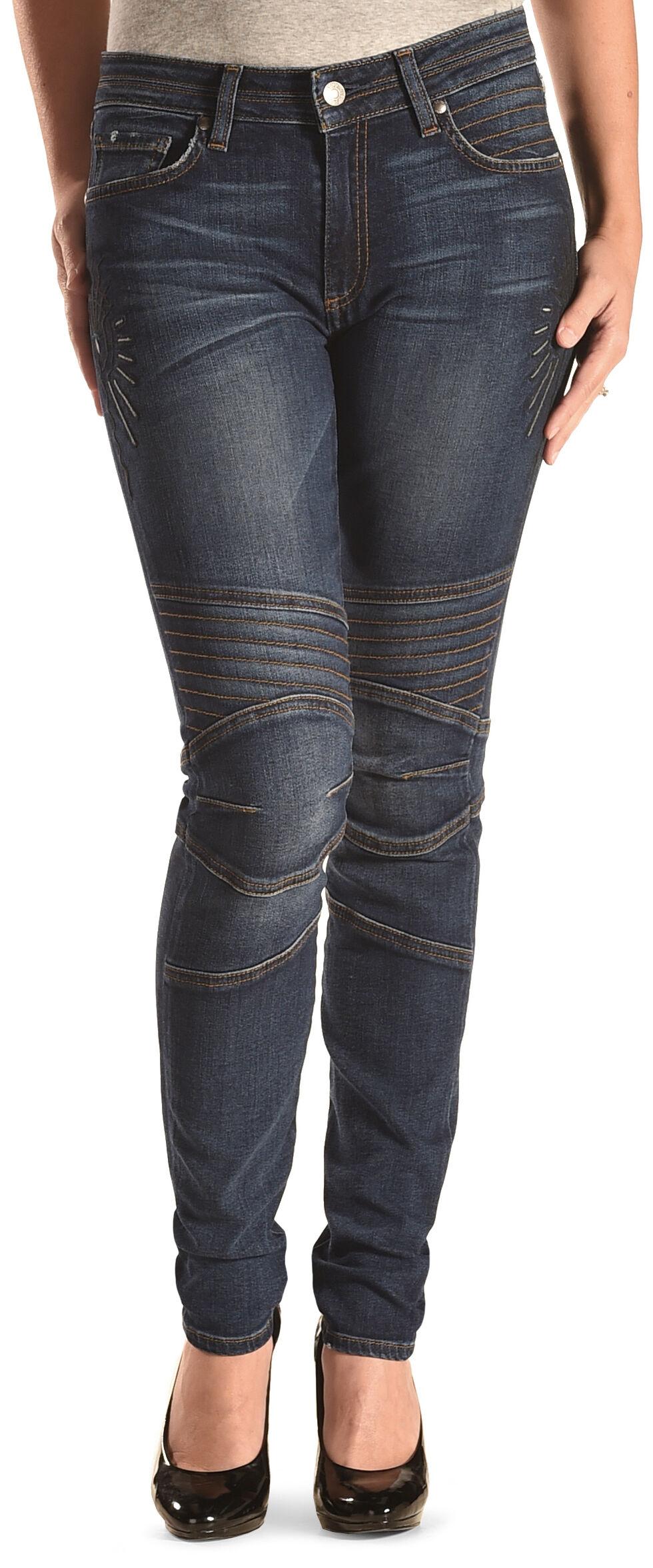 MM Vintage Women's Kate Biker Blue Skinny Jeans, Indigo, hi-res