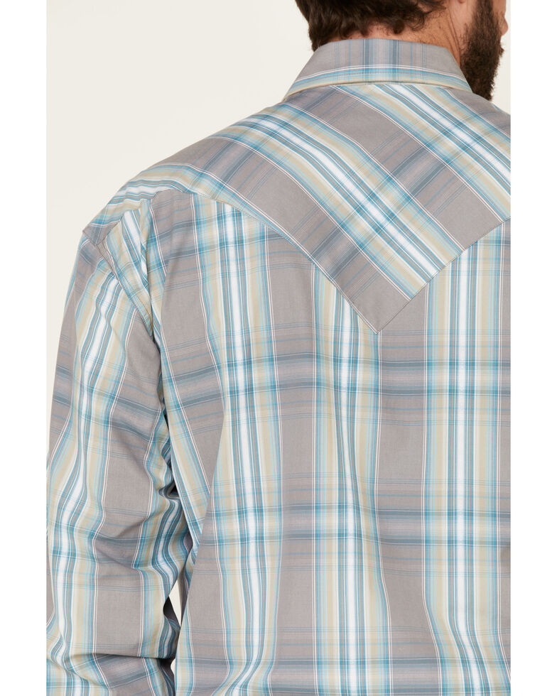 Stetson Men's Blue Slate Large Dobby Plaid Long Sleeve Snap Western Shirt , Grey, hi-res