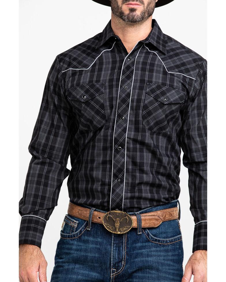 Roper Men's Small Plaid Guitar Embroidered Long Sleeve Western Shirt , Black, hi-res