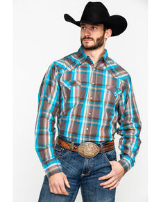 Roper Men's Brown Medium Plaid Long Sleeve Western Shirt , Brown, hi-res