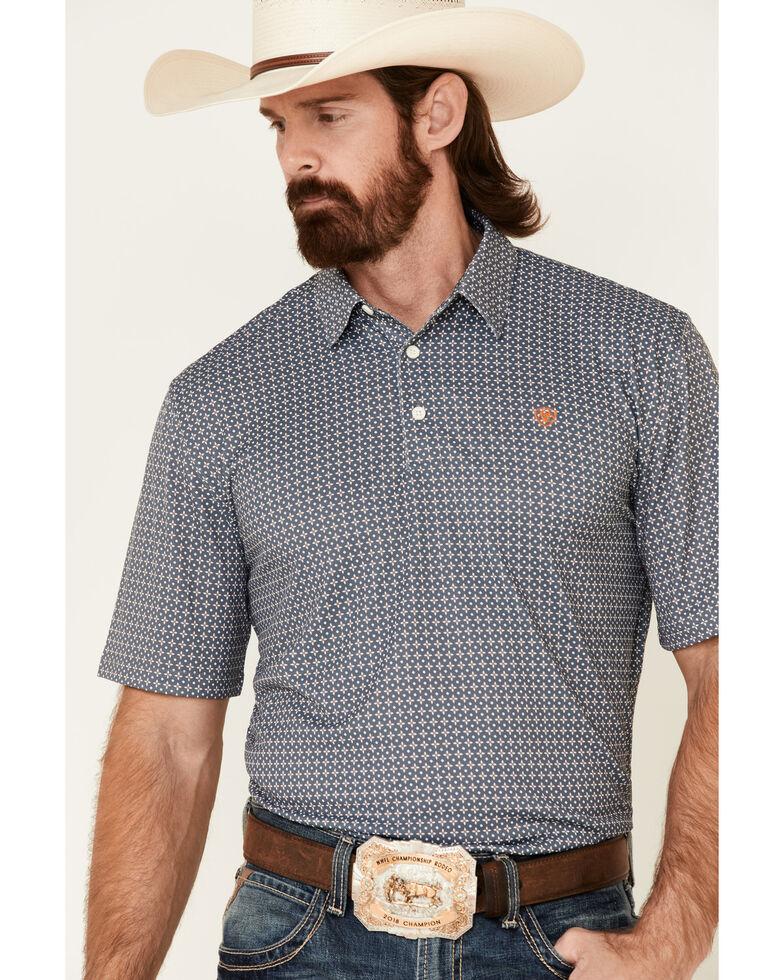 Ariat Men's Rock Climb Geo Print Short Sleeve Polo Shirt , Grey, hi-res