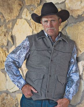 STS Ranchwear Men's Lariat Charcoal Grey Vest, Charcoal Grey, hi-res