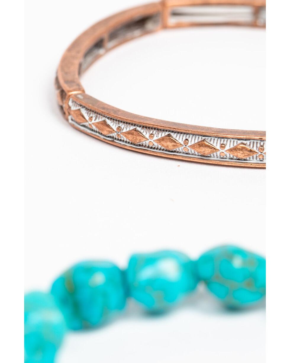 Shyanne Women's Wanderlust Turquoise Stretch Mixed 3 Pack Bracelet Set, Tan/copper, hi-res