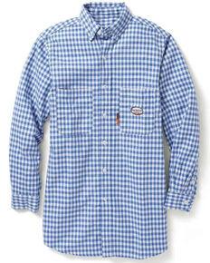 Rasco Men's Flame Resistant Blue Plaid Long Sleeve Work Shirt - Big & Tall , Light Blue, hi-res